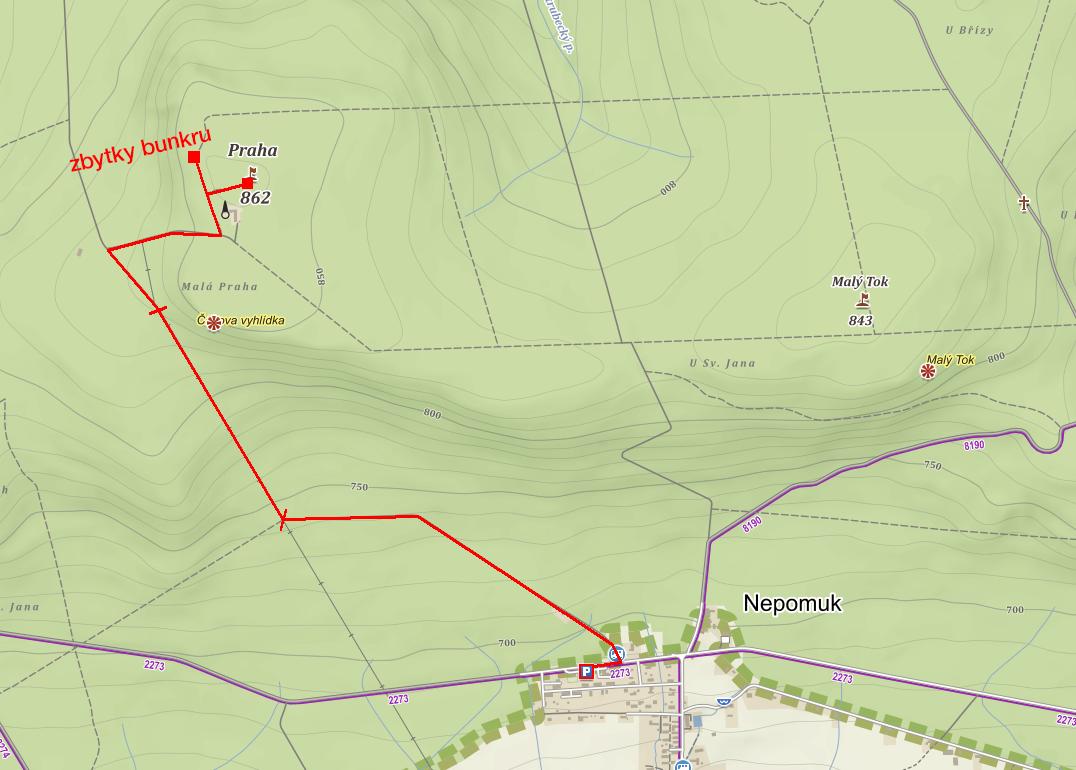 Cesta navrchol - mapa